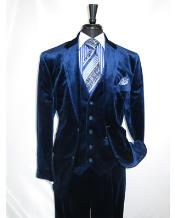 Navy Velour 2 Button Velvet Fabric 3 Piece Vested Notch lapel Side Vent Suit with Pleated Pants