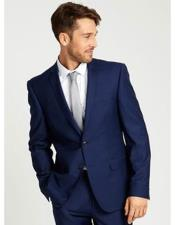 Navy Two Buttons Notch Lapel side vented suit