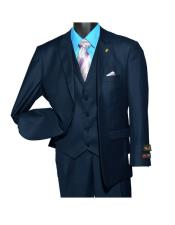 Men's Fashion Navy Peak Lapel Single Breasted 2 Button Vested Suit