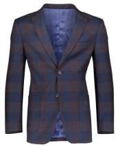 Mens Navy Slim Fit Patch Pockets  Plaid ~ Windowpane ~ Checker