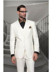 Confidence Mens Off White 2 Button Modern Fit Wool Suit