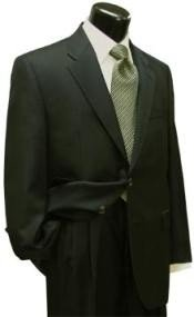 Mens Dark Olive Green (Hunter) 2 Button Super Wool Business ~