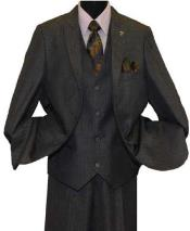 Stacy Adams Brand Sharkskin Tonal Striped 2 Button Peak Lapel Single