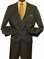 Olive  Peak Lapel 2 Button Closure Vested Suit