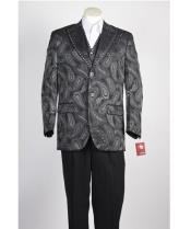 Vested 2 Button Olive Green Paisley Blazer With Studded Trim and