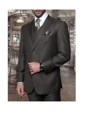 Confidence Mens Olive 3 Piece 2 Button Italian Designer Suit