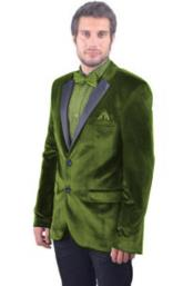 2 Button Olive Green Satin Notch Lapel Single Breasted Velvet Blazer