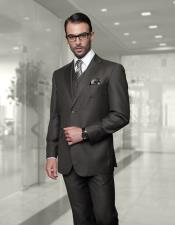 Mens Big Size Vested Suits 2 Button Wool Suits Olive