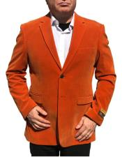 Nardoni Brand Orange Velvet ~ Velour Blazer ~ Sport Coat Jacket