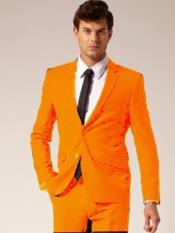 Button Notch Lapel Orange
