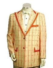 Mens Two Button Trimmed Two Tone Blazer/Suit/Tuxedo Peach Orange