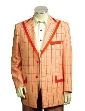 Two Button Trimmed Two Tone Blazer/Suit/Tuxedo Peach