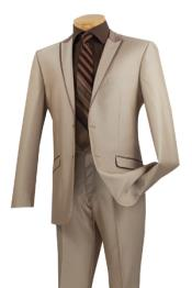 Two Button Peak Lapel Tuxedo Trimmed Mens Formal wear Suit Beige