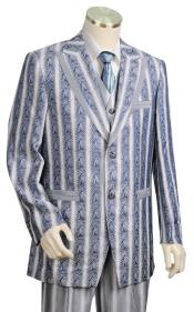 Metallic Wave Pattern Azure Plain Zoot Suit Peak Lapel