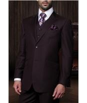 Confidence Mens Plum 3 Piece 2 Button Italian Designer Suit