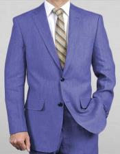 Sizes Light Weight 2 Button Notch Lapel Real Linen Suit (