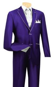 Mens Purple And White Trim Lapel Tuxedo Suit Vested 3 Piece Two