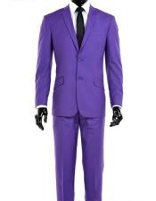 Nardoni Mens 2 Button Modern Fit Notch Lapel Light Purple Suit + Vest Dark Lav