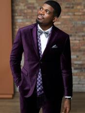 Mens 2 Button Purple Velvet Tuxedo Suit