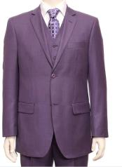 Breasted 2 Button Light Purple ~ Dark Lavender Texture Fabric 3 Piece Notch Lapel Side Vent Vested