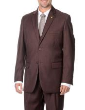 Mens Two Button Stylish 3-Piece Raisin Vested Suits with Flat Front