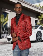 Mens Red Paisley Colorful Prom Entertainer Blazer