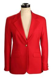 Womens 2 Button Red Belle Fit Wrinkle Resistant Blazer Made in USA