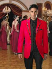 Button Stage Party Tuxedo smoking jacket Velvet Velour Sport Coat & Blazer with Black Edge Trim Red