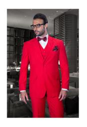 Solid Red 2 Button Vested Suit $175