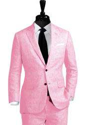Nardoni Linen 2 Button Pink Vested 3 Pieces Summer Linen Wedding/Groom/Groomsmen Suit Jacket & Pants & Vest