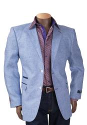 Sky Light Baby blue Mens Linen 2 Button Notch Lapel Single Breasted Blazer Sport Coat