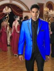 Button Stage Party Tuxedo Velvet Velour Sport Coat & Blazer with Black Edge Trim Royal Blue