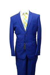 2 button Single Breasted Slim Fit Solid Royal Blue Dress Suits