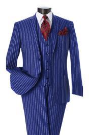 2 Button Notch Lapel Pinstripe Design Single Breasted Royal Vest Dress Suits for Men