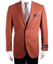 2 Button Slim Fit Rust Single Breasted Notch Collar Sport Coat Blazer