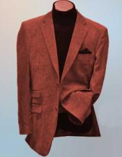 Rust Side Vents Notch Lapel 2 Button Wool Blend Corduroy Blazer