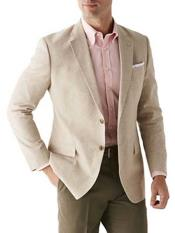 Mens Sand Linen Cotton 2 Button Sport Coat Long Sleeves Classic Fit