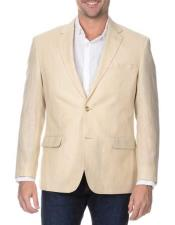 Mens Sand 2 Button Rich Wool Notch Lapel Single Breasted Blazer