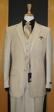 Button Sand ~ Beige Khaki Color Flat Front three piece suit