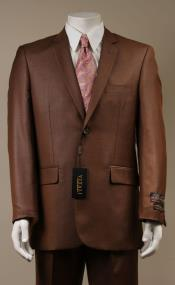 Mens Sharkskin Suits Two Button Suit New Edition Shiny Flashy Sharkskin Rust