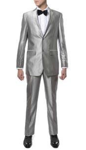 Mens Silver Suit Mens Two Button  Closure Silve Sharkskin Slim Fitted