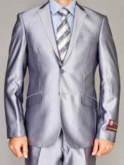Mens 2 Button Shiny Silver Slim Fit Double Vent Suit