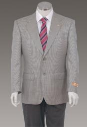 Sport Coat Jacket Blazer 100% Wool Patterned Fabric Two Button Single Breasted Grey