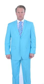 Mens Sky Baby Blue Turquoise 2 Piece affordable suit