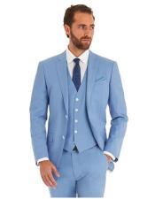 SKU#AP383 Mens Sky Blue Powder Blue ~ Ocean Single Breated 2 Button Suit