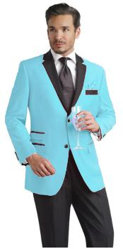 Nardoni Brand Light Blue ~ Sky Baby Blue Two Button Party Suit & Tuxedo & Blazer W/