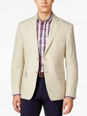 2 Button Notch Lapel Tan Solid Linen Classic Fit Sport Coat Blazer