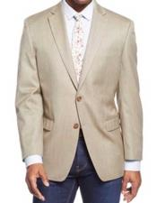 Mens 2 Button Tan Single Breasted Notch Lapel Sport Coat Blazer