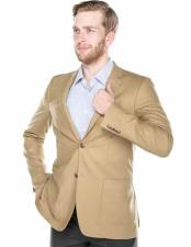 Mens Italian Styled 2 Button Wool Blend Notch Lapel Tan Slim Fit Blazer