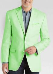 Mens 2 Button Linen Classic Fit Sport Coat Apple Green Summer Blazer